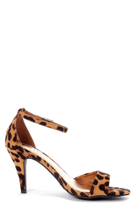 Bamboo Jenna 01 Leopard Print Peep Toe Kitten Heels at Lulus.com!