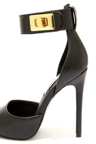 Steve Madden Mayven Black Twist-Lock Ankle Strap Heels at Lulus.com!