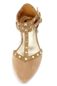 Bamboo Waranda 11 Natural Studded T-Strap Pointed Flats at Lulus.com!