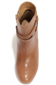 Chinese Laundry Unleash Cognac Leather Wedge Booties at Lulus.com!