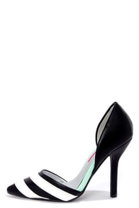 C Label Luxe 13 Black and White Striped Pointed Pumps at Lulus.com!