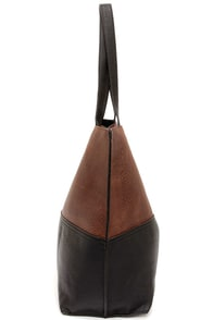 Half and Half Brown and Black Tote at Lulus.com!