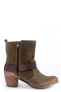 Sixtyseven Baxter Suoil Oliva Green Suede Belted Ankle Boots at Lulus.com!