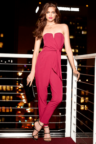 LULUS Exclusive Sash Money Strapless Magenta Jumpsuit at Lulus.com!