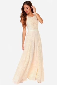 Follow Your Dreams Cream Lace Maxi Dress at Lulus.com!