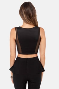 No Meshing Around Black Crop Top at Lulus.com!