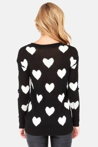 Need I Say Amore? Black Heart Print Sweater at Lulus.com!