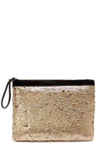Camera Ready Gold Sequin Clutch at Lulus.com!