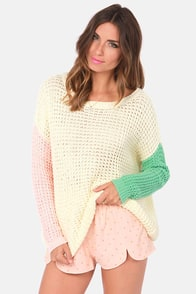 American Pastel-times Color Block Cream Sweater at Lulus.com!