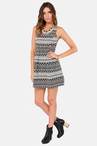 Geo Noir Black and Ivory Print Dress at Lulus.com!