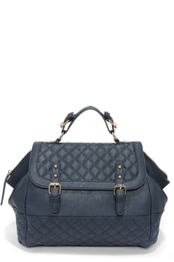 Not Quilty Navy Blue Quilted Handbag at Lulus.com!