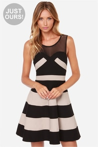 LULUS Exclusive Swing and Shout Beige and Black Striped Dress at Lulus.com!