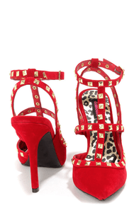Dollhouse Gravity Red Studded T-Strap Pointed Heels at Lulus.com!