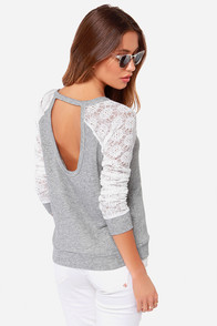 Louisville Hugger Heather Grey and Ivory Sweater Top at Lulus.com!