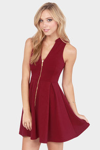 Black Swan Josephine Sleeveless Burgundy Skater Dress at Lulus.com!