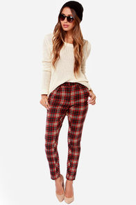 Lucca Couture Lily Plaid Red Plaid Pants at Lulus.com!