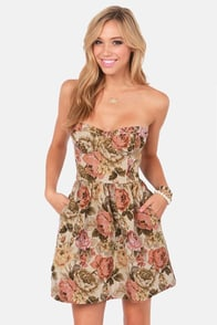 Black Swan Sarah Beige Tapestry Strapless Dress at Lulus.com!