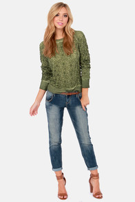 Black Swan Wildflower Lace Army Green Sweater at Lulus.com!