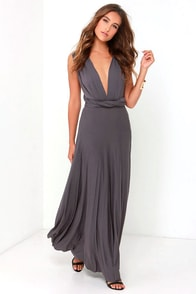 LULUS Exclusive Tricks of the Trade Dark Grey Maxi Dress