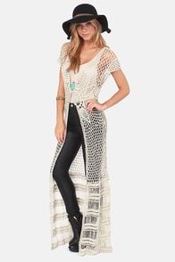 Black Swan Amelia Ecru Long Crochet Vest at Lulus.com!
