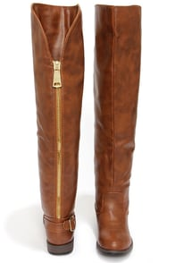 Bamboo Montage 80X Chestnut Over the Knee Flat Boots at Lulus.com!