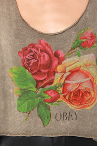 Obey Bed of Roses Olive Print Crop Top at Lulus.com!