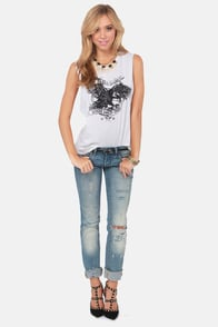 Obey Where the Eagles Dare Ivory Print Muscle Tee at Lulus.com!