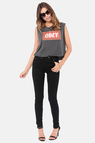 Obey Magic Carpet Washed Black Print Muscle Tee at Lulus.com!