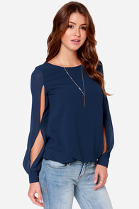 LULUS Exclusive Lucky Ch-Arms Navy Blue Long Sleeve Top at Lulus.com!