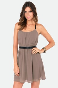 LULUS Exclusive Want You Back Black and Taupe Belted Dress at Lulus.com!