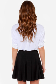 Flare Weather Friend Flared Black Skirt at Lulus.com!