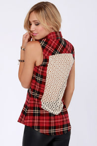 White Crow Ramona Red Flannel Sleeveless Top at Lulus.com!