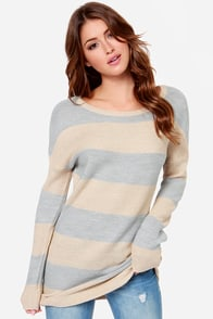 Olive & Oak Power Snuggle Beige and Grey Sweater at Lulus.com!