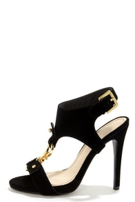 Anne Michelle Perton 07 Black and Gold T-Strap Peep Toe Heels at Lulus.com!