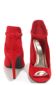 Anne Michelle Rapture 26 Red High Back Ankle Strap Heels at Lulus.com!