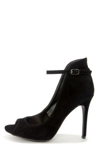 Anne Michelle Rapture 26 Black High Back Ankle Strap Heels at Lulus.com!