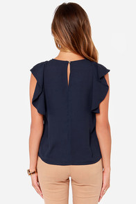 Front Desk Flirt Navy Blue Top at Lulus.com!