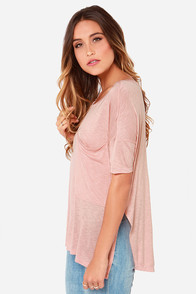 LULUS Exclusive Oversize Me Blush Tee at Lulus.com!