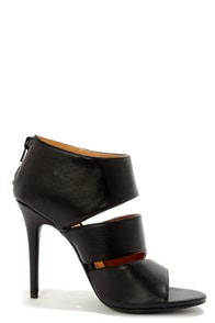 Anne Michelle Rapture 25 Black Cutout Peep Toe Booties at Lulus.com!