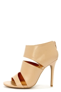 Anne Michelle Rapture 25 Nude Cutout Peep Toe Booties at Lulus.com!