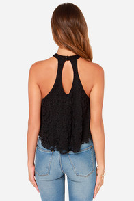 Goodness Graces Black Lace Halter Top at Lulus.com!