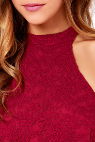 LULUS Exclusive Goodness Graces Wine Red Lace Halter Top at Lulus.com!