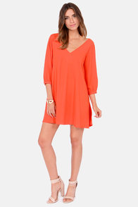 Get Weave-en Orange Shift Dress at Lulus.com!
