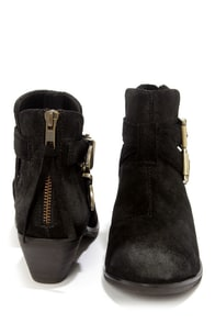 Steve Madden Cinch Black Suede Leather Cutout Ankle Boots at Lulus.com!