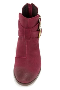 Steve Madden Cinch Burgundy Suede Leather Cutout Ankle Boots at Lulus.com!