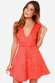 Lumier Last Chance Coral Red Lace Dress at Lulus.com!