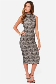 JOA Mulan Black Lace Dress at Lulus.com!