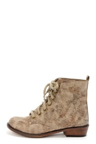 Dirty Laundry Preview Natural Print Lace-Up Combat Boots at Lulus.com!