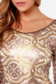 LULUS Exclusive Sequin-Centennial Gold Sequin Dress at Lulus.com!