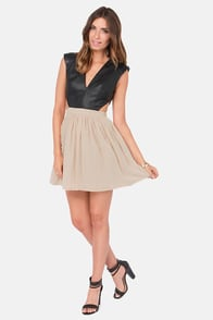 Hot and Heavy Black and Beige Dress at Lulus.com!